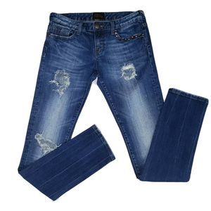 EXPRESS Skinny Jeans Size 6 x 33 Distressed Ripped